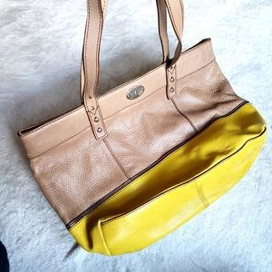 Fossil leather tote shoulder bag tan yellow